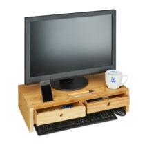Monitor tartó asztali állvány natúr 2 fiókkal