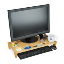 Monitor tartó asztali állvány natúr 8 rekeszes