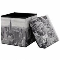New York összecsukható textil puff, tárolós ülőke