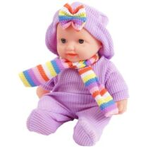 Játékbaba ruhában sállal - 24 cm