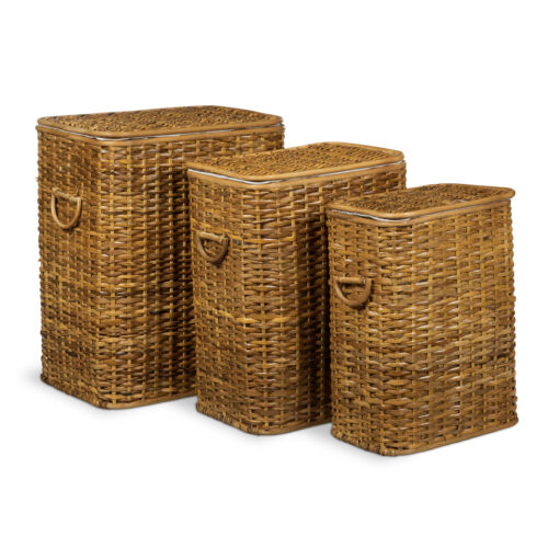 3 Részes rattan szennyestartó kosár méz barna