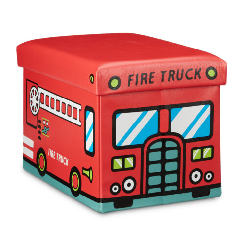 Tűzoltóautós gyerek tárolós puff, ülőke